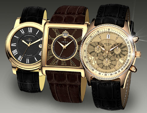 Золотые наручные мужские часы