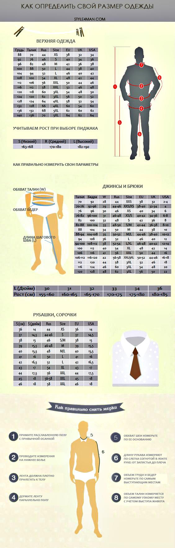 размер мужской одежды
