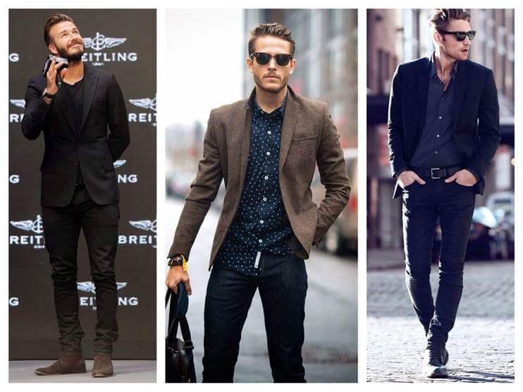 узкие джинсы с пиджаком