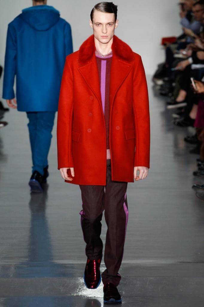 мужское пальто с меховым воротником