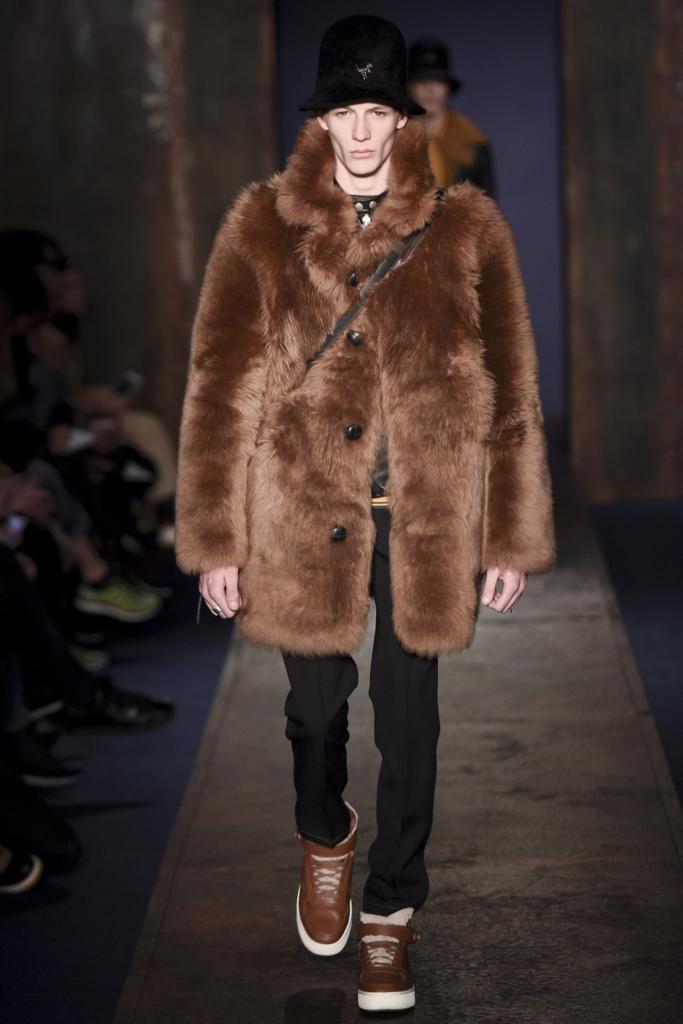 мужское меховое пальто Coach