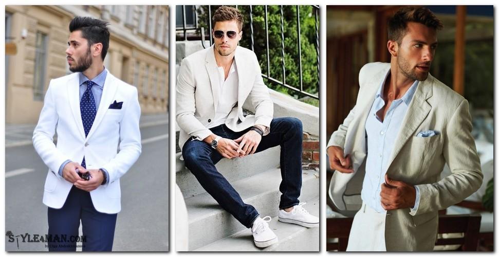варианты с белым мужским пиджаком