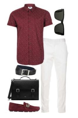 лук с красной мужской рубашкой