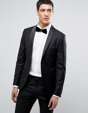 Приталенный пиджак под смокинг Selected Homme - Черный