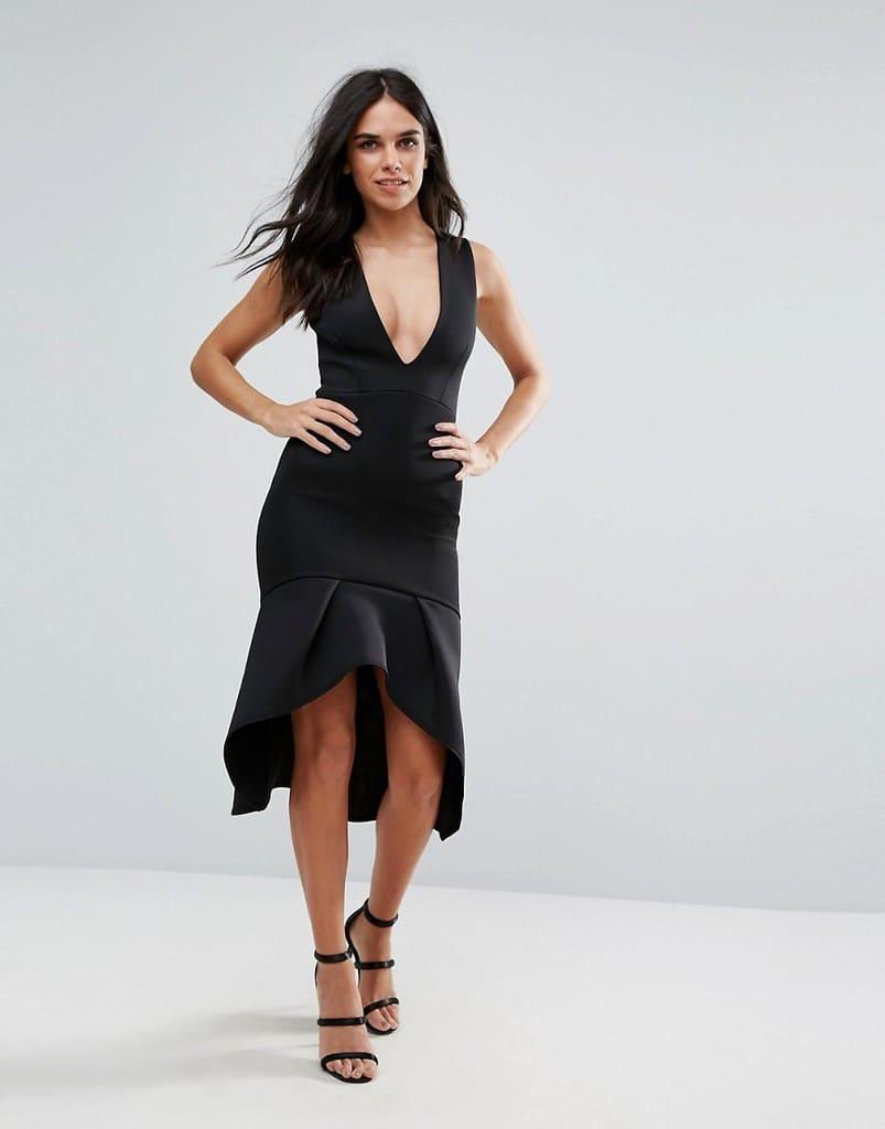 Черное платье миди без рукавов с глубоким вырезом Missguided - Черный