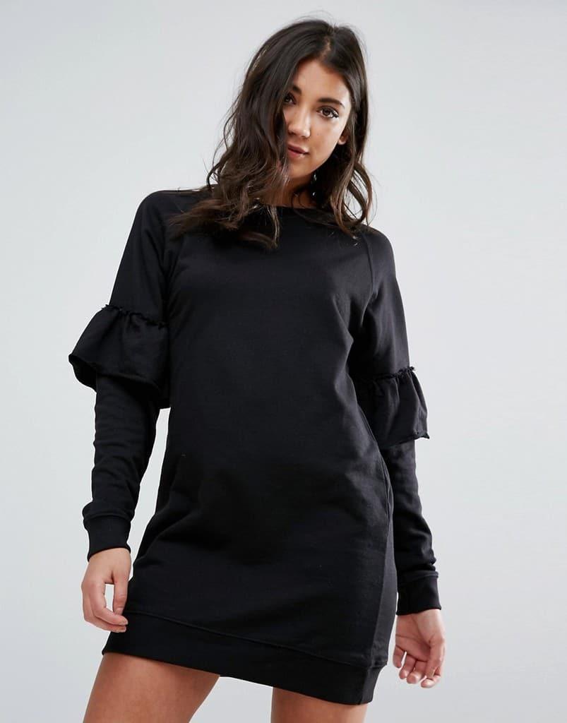 Черное платье-футболка с оборками на рукавах Missguided - Черный