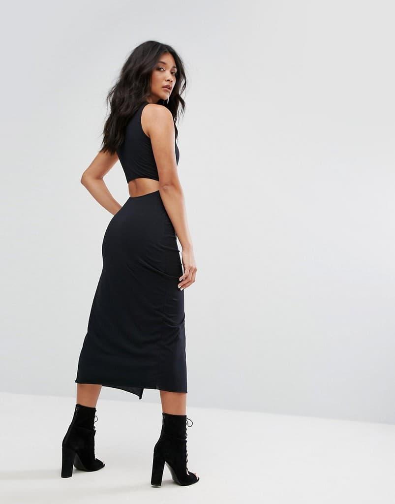 Черное платье с разрезом до бедра AllSaints - Черный