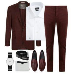 Бордовый костюм для мужчин 10,03