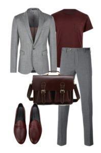 Серый модный костюм для мужчин