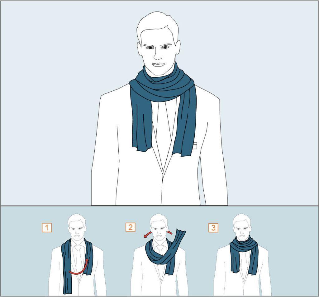 первый способ как завязывать шарф