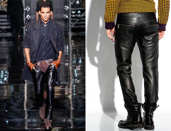 кожаные мужские брюки