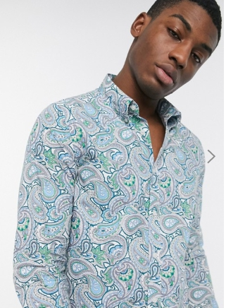 Довольно зеленая рубашка с принтом пейсли синего цвета
