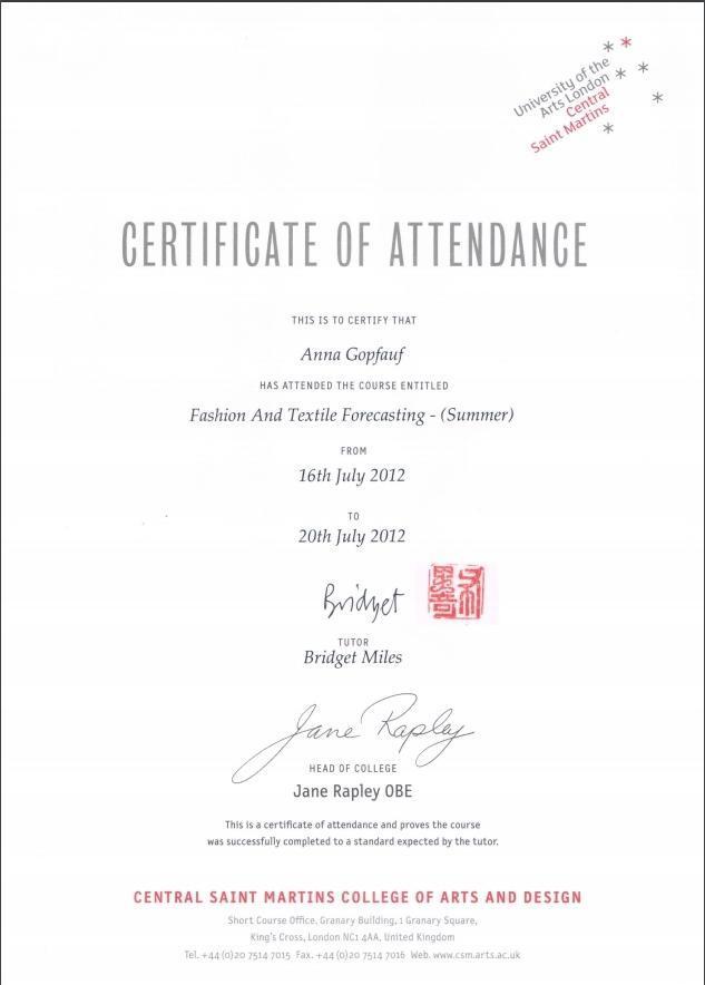 Сертификат обучения Анны
