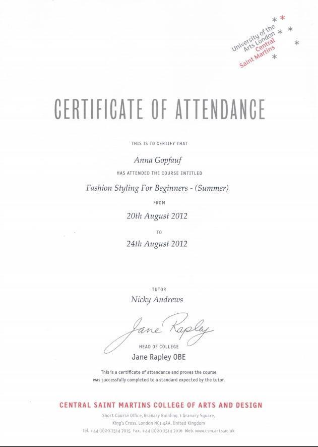 Гопфауф Анна и ее сертификат